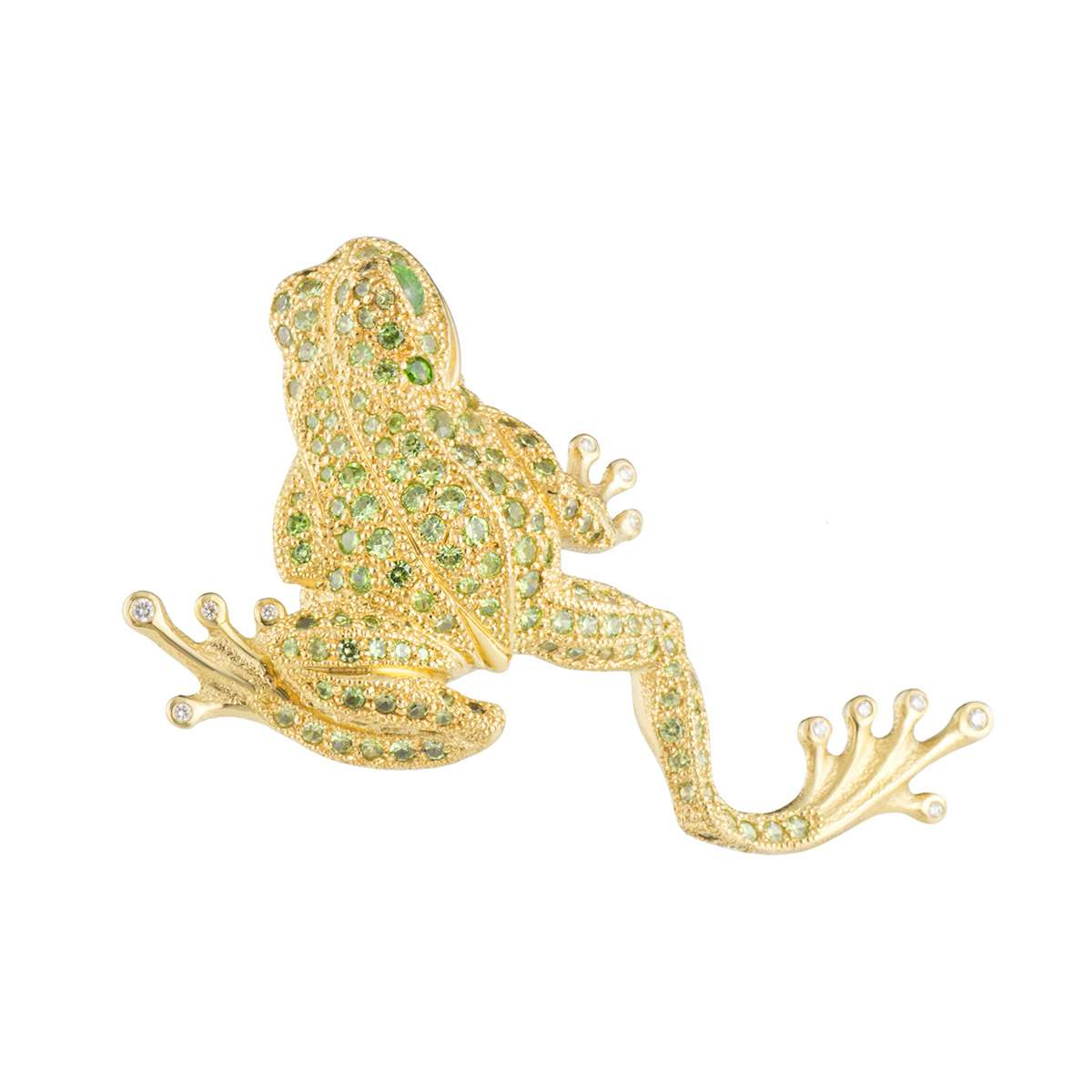Yellow Gold Diamond and Peridot Frog Brooch